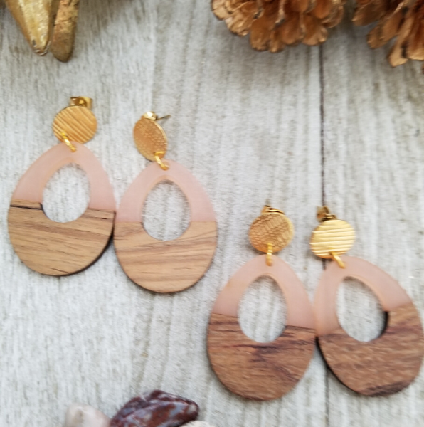 Pink Wood and Resin Keyhole Earrings