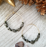 Pyrite & Crystal Hoops