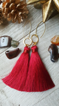 Red Tassel Earrings With Choice of Accents