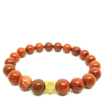 Red Jasper Bracelet With Gold Plated Accent