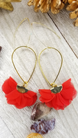 Red Ruffled Tassel Earrings With Various Accent Options