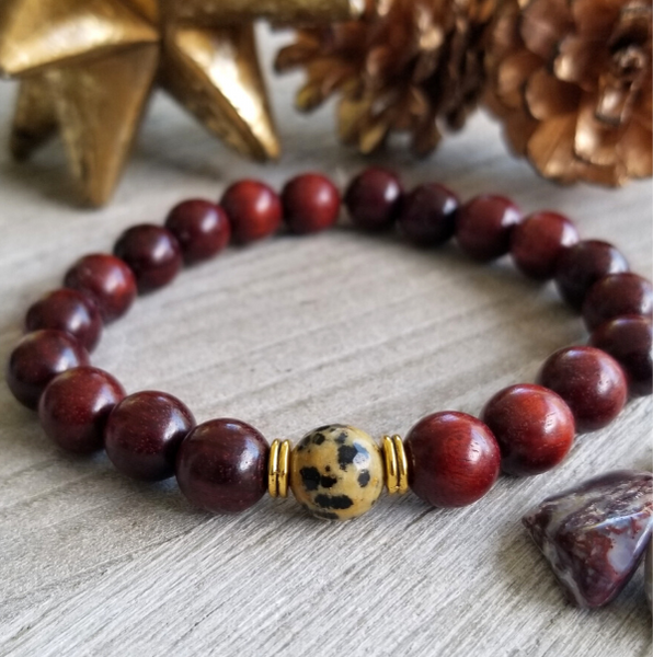 Red Sandalwood With Dalmatian Jasper