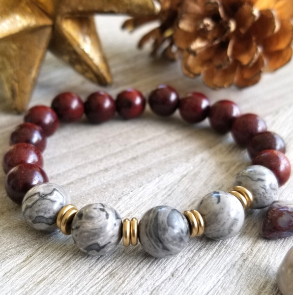 Red Sandalwood With Gray Jasper