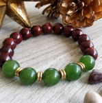 Red Sandalwood With Green Jade