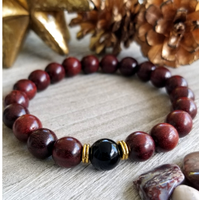 Red Sandalwood With Black Onyx