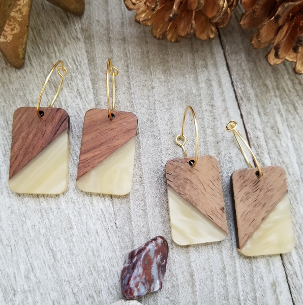 Khaki Wood and Resin Rectangle Earrings