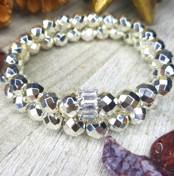 Silver Faceted Hematite Bracelet Set
