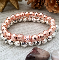Silver and Rose Gold Hematite Bracelet Set
