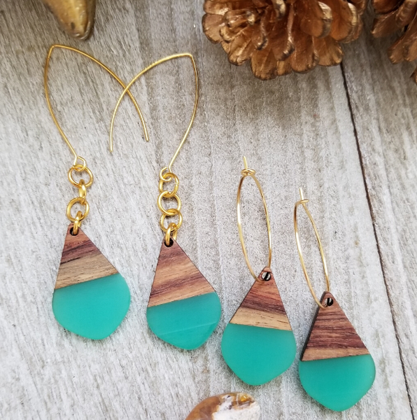 Teal Wood and Resin Teardrop Earrings