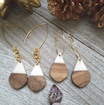 White Wood and Resin Teardrop Earrings