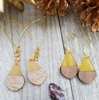 Yellow Wood and Resin Teardrop Earrings