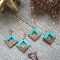 Teal Wood and Resin Diamond Shaped Earrings