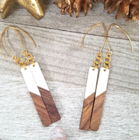 White Wood and Resin Bar Earrings