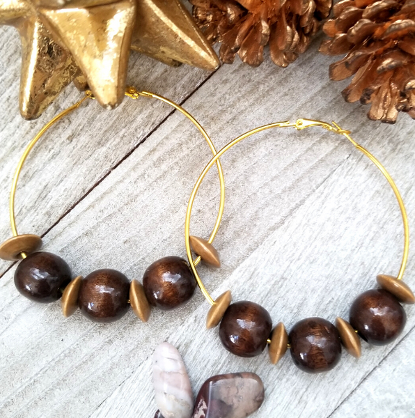 Large Hoop Earring with Brown and Dark Brown Wood Accents