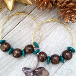 Large Hoop Earring with Teal and Dark Brown Wood Accents