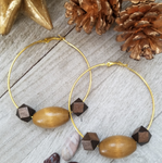 Large Hoop Earring with Light Brown and Dark Brown Wood Accents