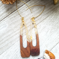 Clear and Gold Flecks Wood and Resin Oblong Earrings
