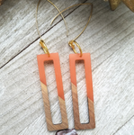 Orange Wood and Resin Rectangle Earrings