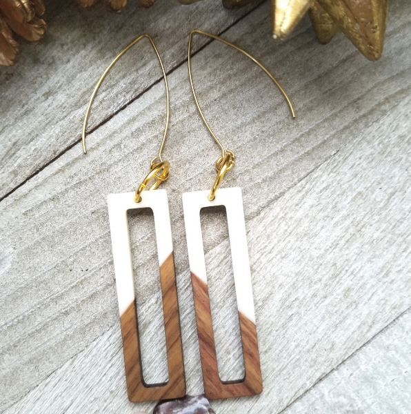 White Wood and Resin Rectangle Earrings