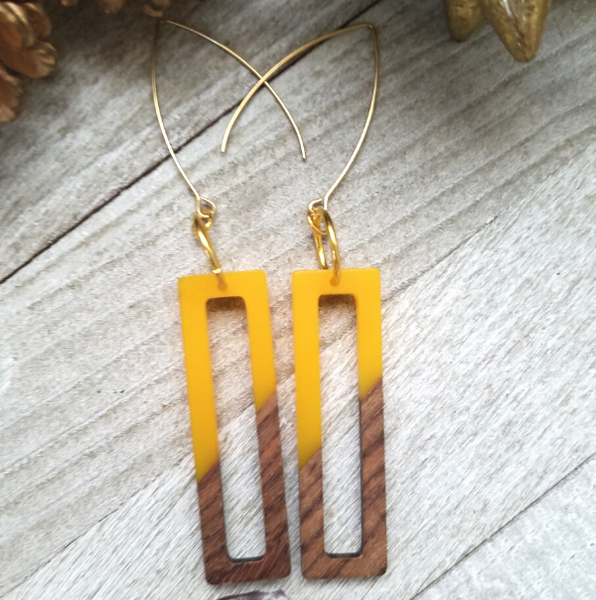 Yellow Wood and Resin Rectangle Earrings