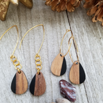 XS Black Wood and Resin Teardrop Earrings