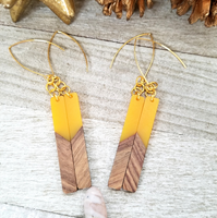 Yellow Wood and Resin Bar Earrings