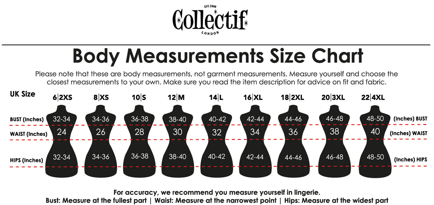 Collectif Clothing Size Guide