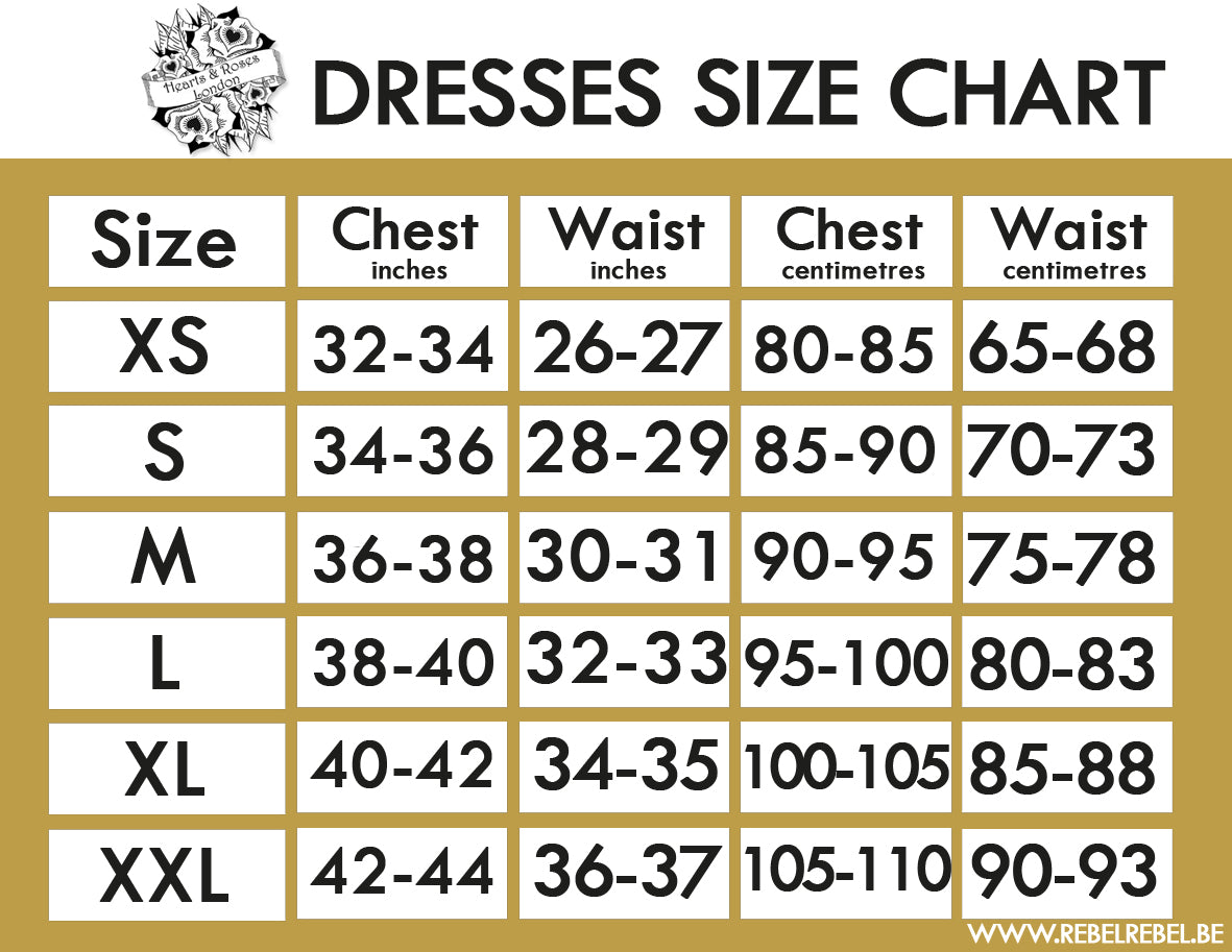Hearts & Roses London Vintage Dresses Size Chart