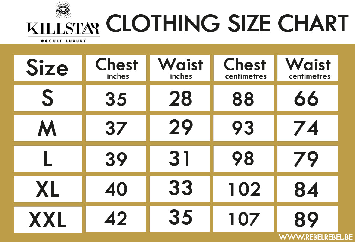 Killstar Women's Gothic Clothing Size Chart