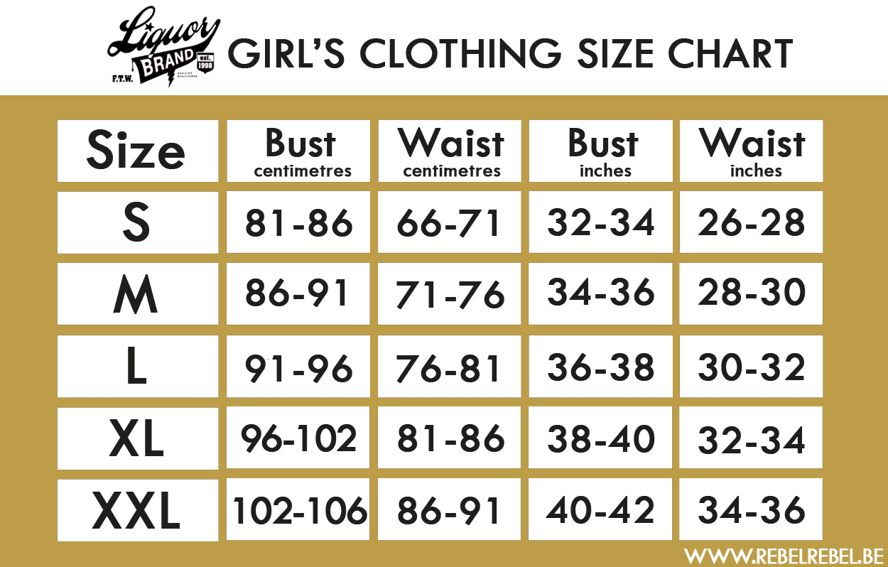 Liquorbrand Women's Clothing Size Chart