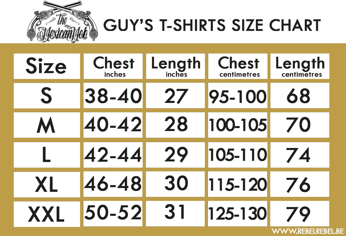 Mexican Mob Alternative Clothing Size Chart