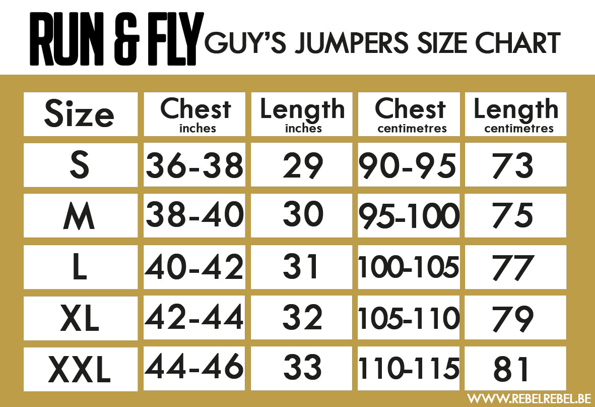 Run & Fly Men's Jumpers Size Chart