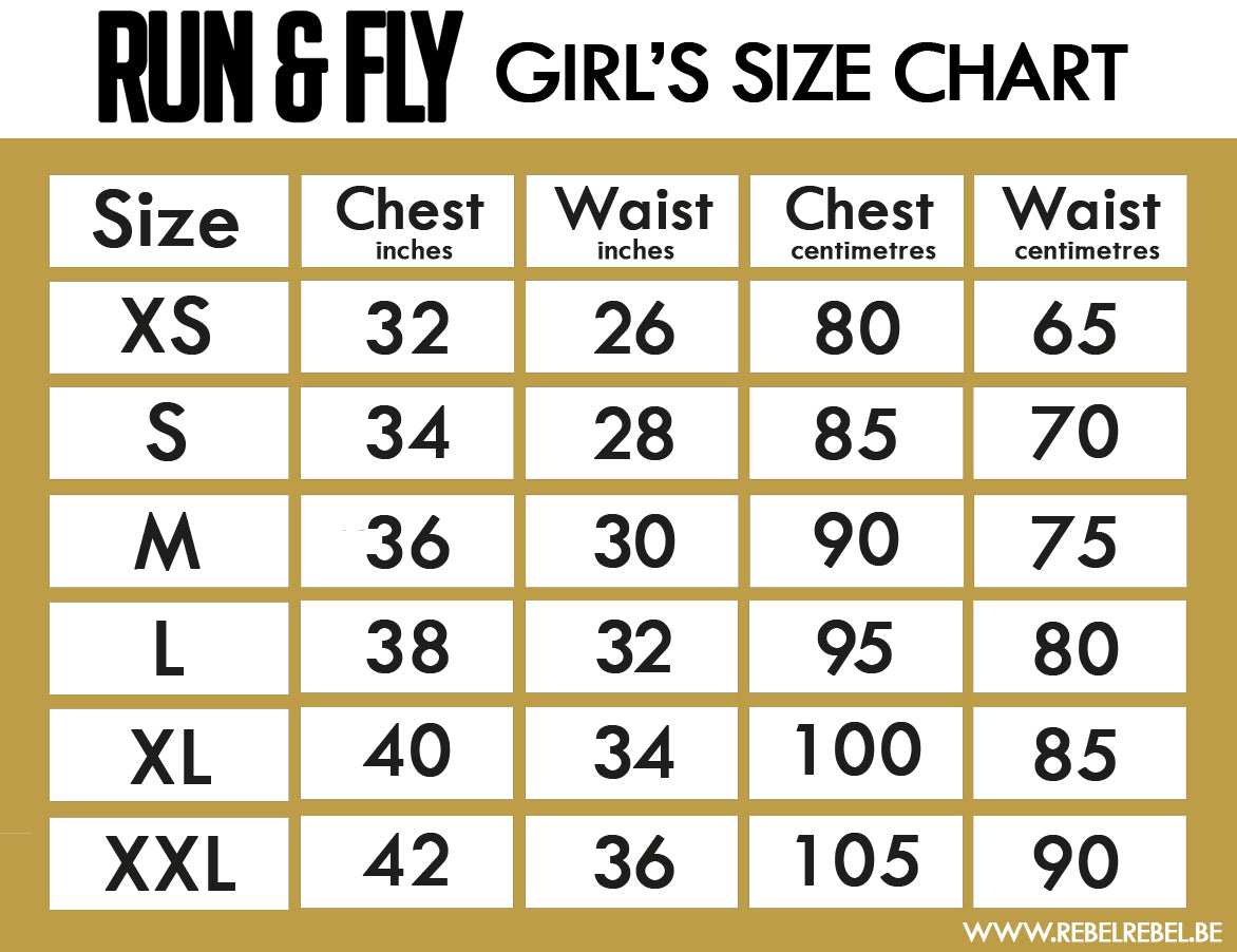 Run & Fly Women's Clothing Size Chart