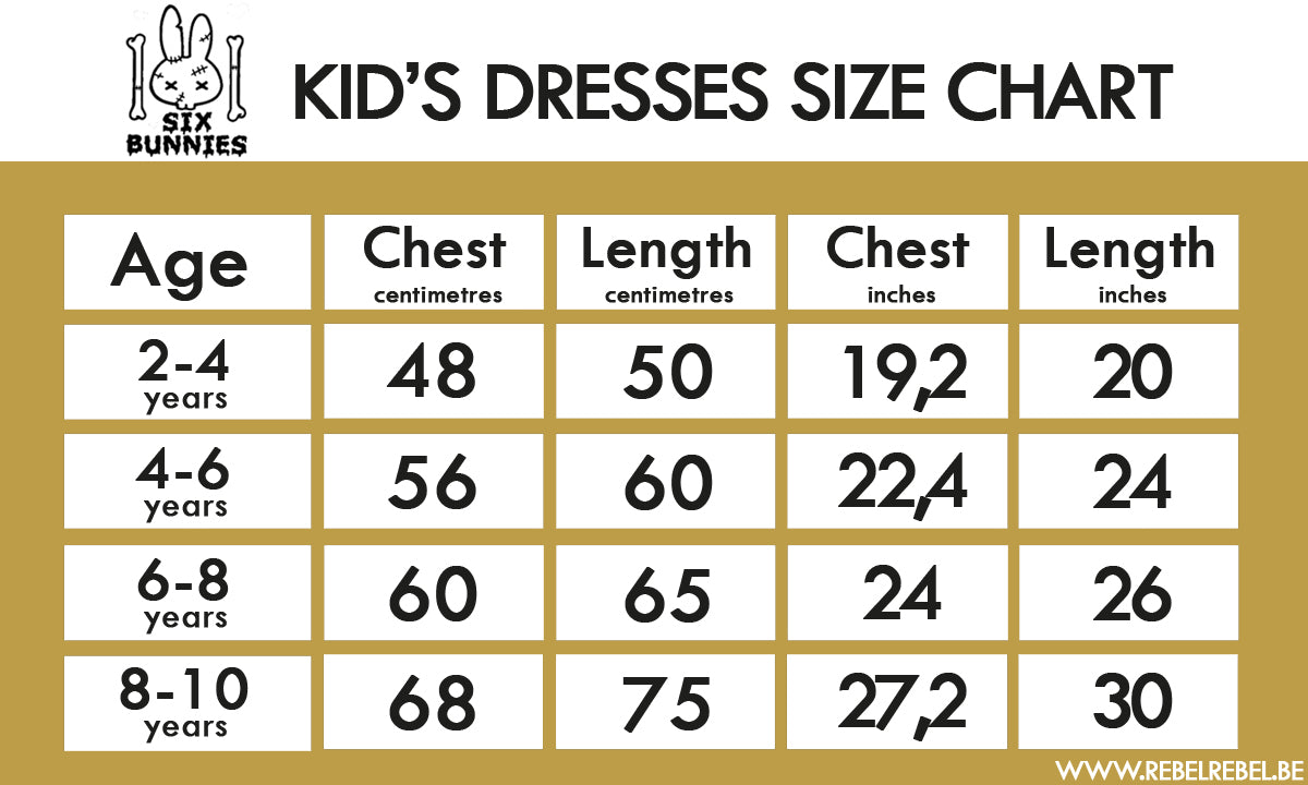 Six Bunnies Kid's Dresses Size Chart