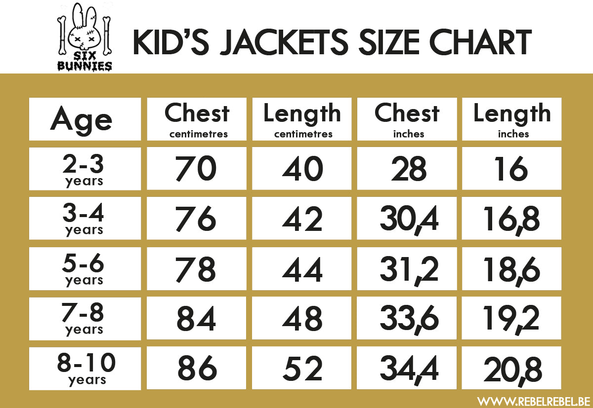 Six Bunnies Kid's Jackets Size Chart