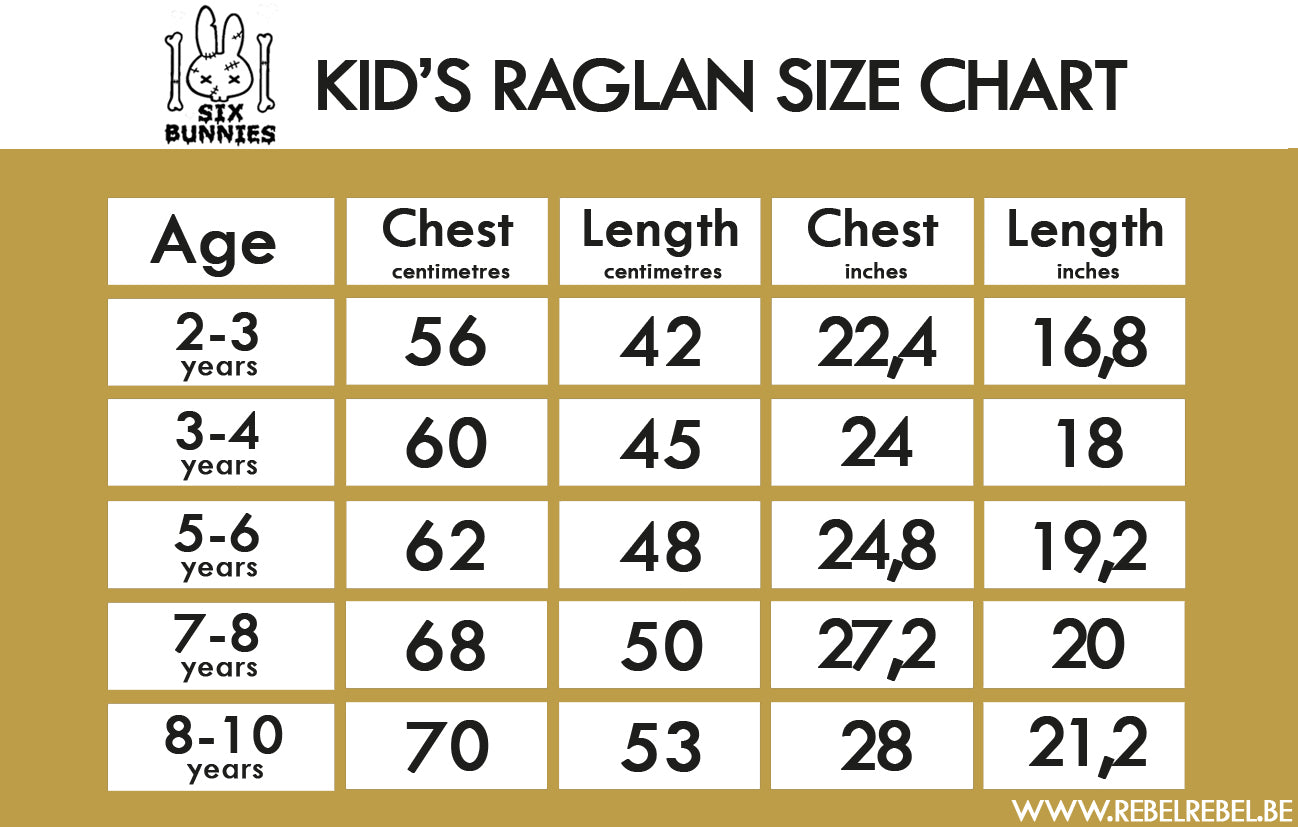 Six Bunnies Kid's Raglans Size Chart