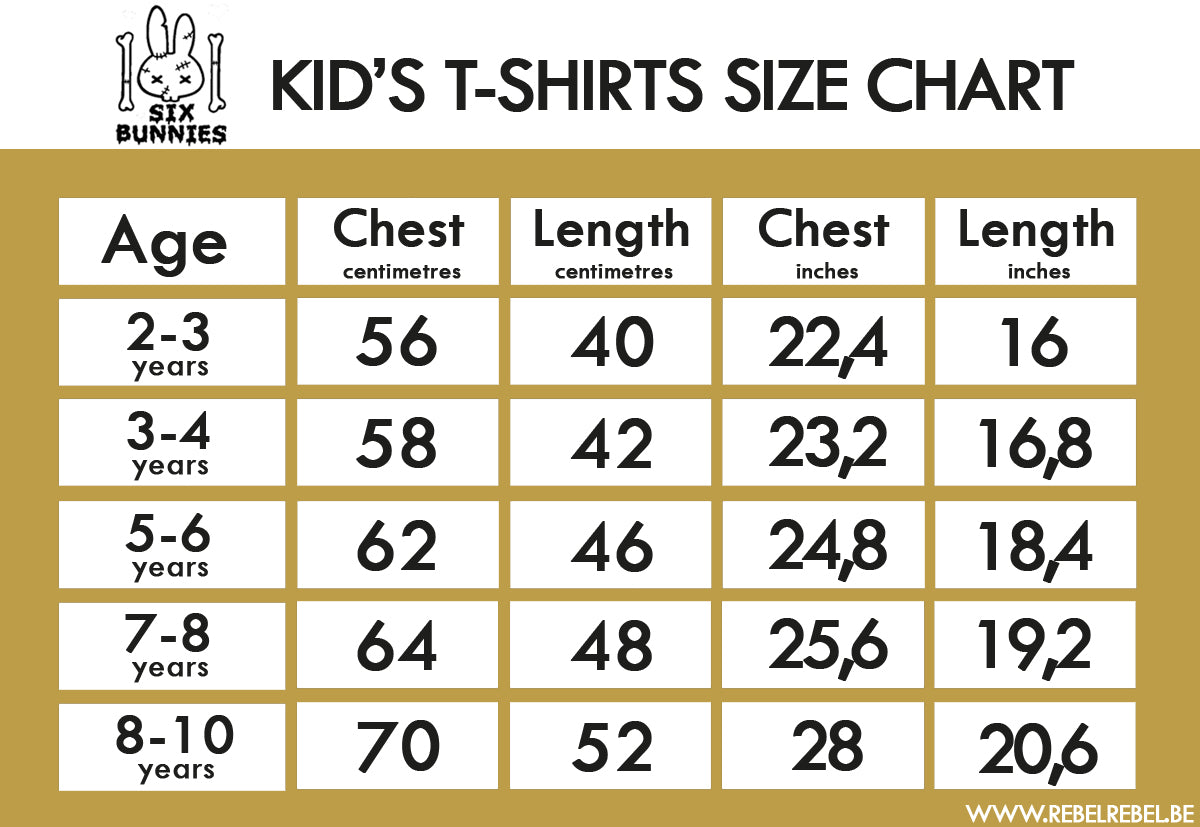Six Bunnies Kid's T-Shirts Size Chart