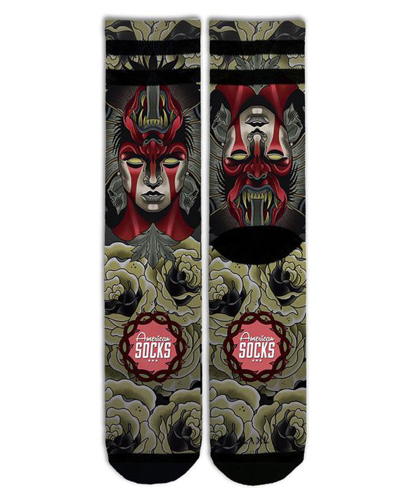 American Socks Demon Mid-High Tattoo Skate Socks | Rebel Rebel Bruges