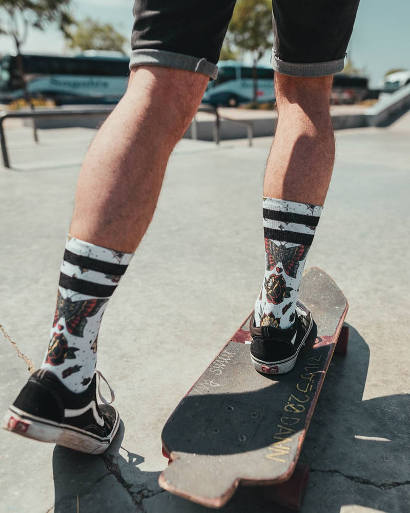 American Socks Armstrong Mid-High Tattoo Skate Socks | Rebel Rebel Bruges