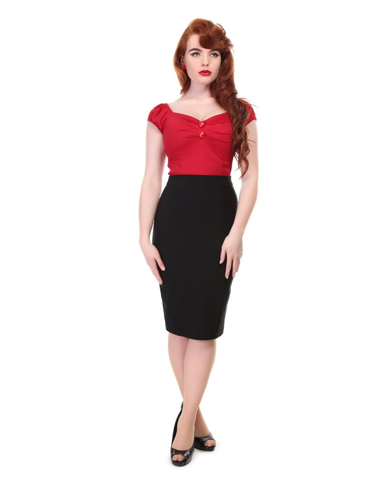 Collectif Polly Plain Black Vintage Pencil Skirt | Rebel Rebel Bruges