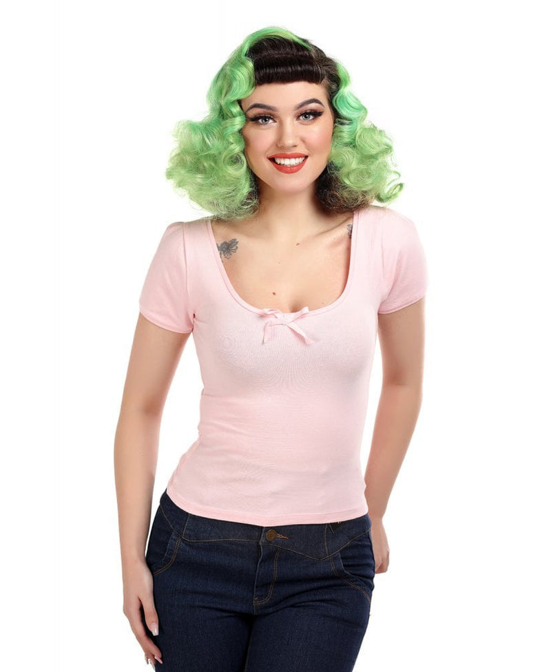 Collectif Baby Pink Roberta Bow Vintage Top | Rebel Rebel Bruges