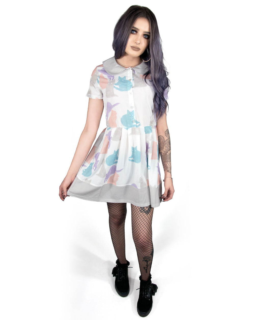 Fearless Illustration Cat Lady Kawaii Mini Dress | Rebel Rebel Bruges