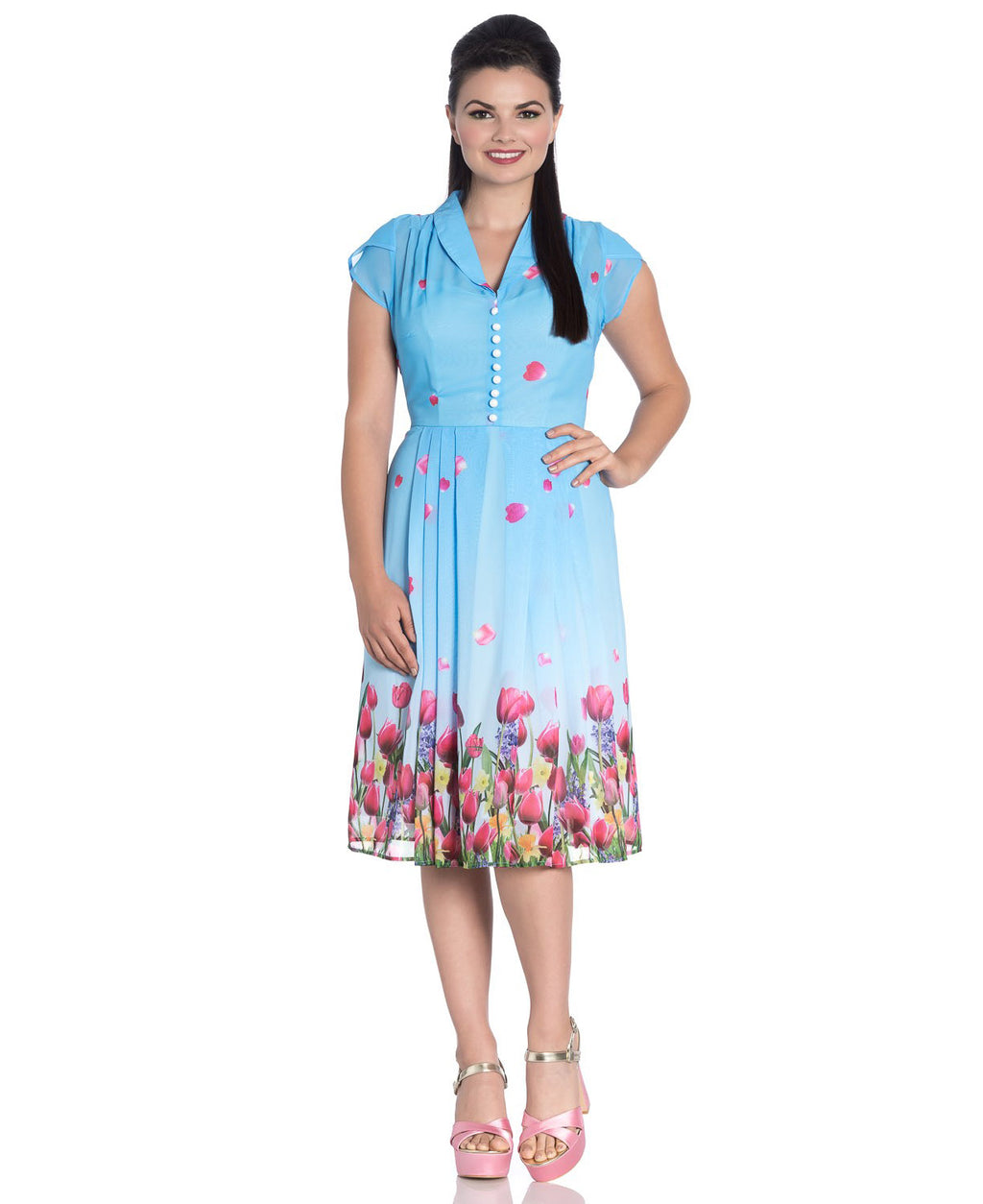 Hell Bunny Bethany Tulips Blue Vintage Tea Dress | Rebel Rebel Bruges