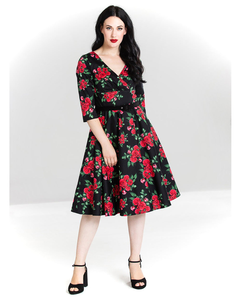 Hell Bunny Cherilyn Red Roses Vintage Swing Dress | Rebel Rebel Bruges