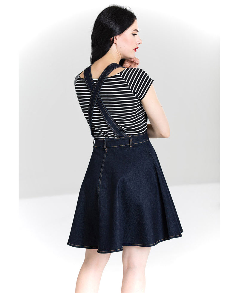 Hell Bunny Dakota Vintage Denim Pinafore Dress | Rebel Rebel Bruges