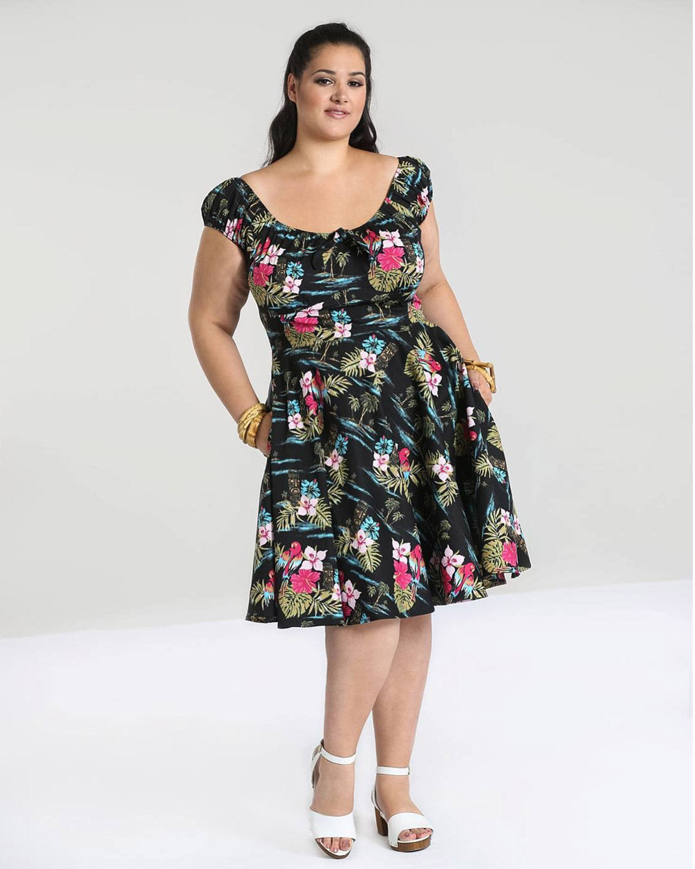 Hell Bunny Noa Noa Tropical Tiki Vintage Swing Dress | Rebel Rebel Bruges