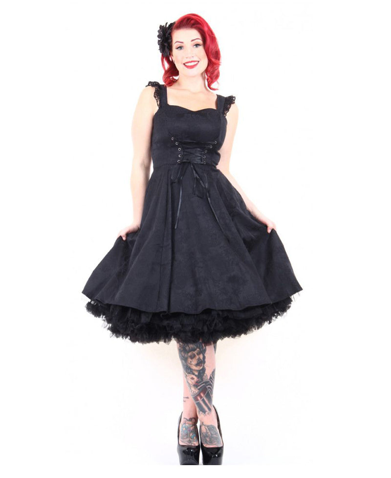 Hearts & Roses Dark Love Affair 1950s Swing Dress | Rebel Rebel Bruges