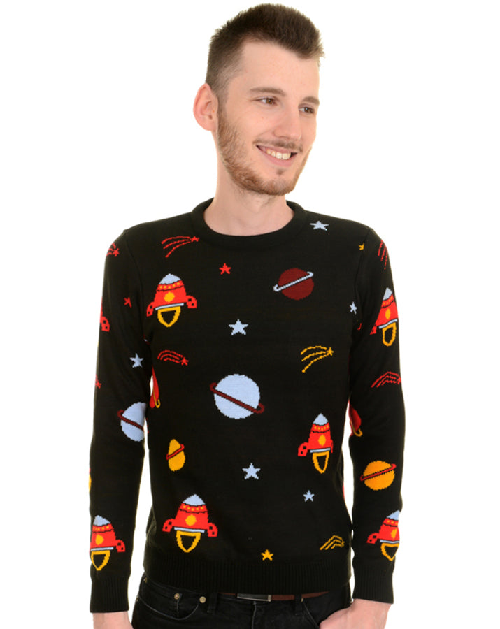 Run & Fly Space Race Knitted Vintage Jumper | Rebel Rebel Bruges
