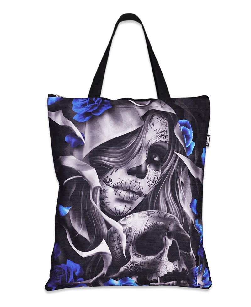Liquorbrand Los Muertos Skull Tattoo Tote Bag | Rebel Rebel Bruges
