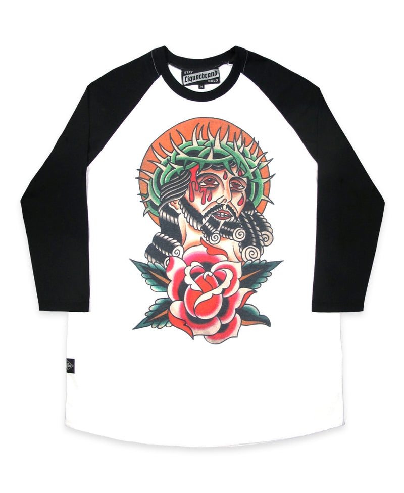 Liquorbrand Saviour Tattoo Flash Raglan T-Shirt | Rebel Rebel Bruges